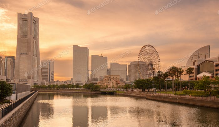 MInatomirai district in Yokohama at sunset