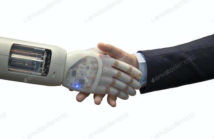 Roboter Hand schütteln menschliche Hand isoliert auf weißem Hintergrund