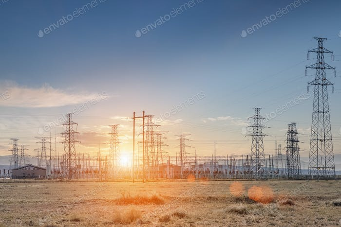 transformer substation at dusk