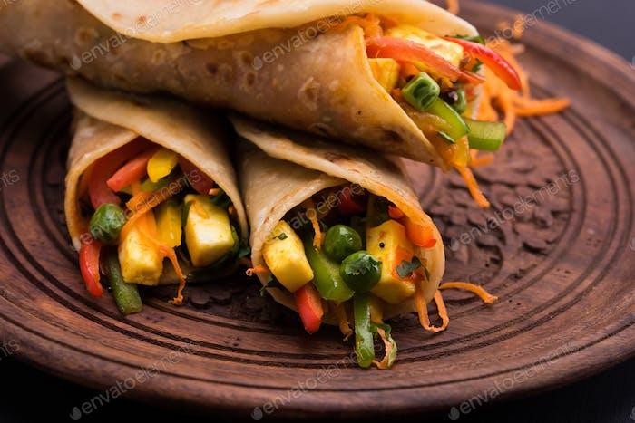 Gemüse Frühlingsrolle/Chapati Wrap/Gemüse Rolle