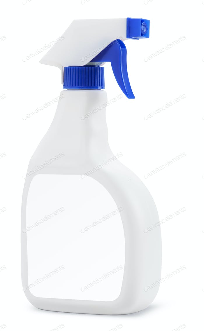 Weiße Plastikflasche mit Sprühwaschmittel