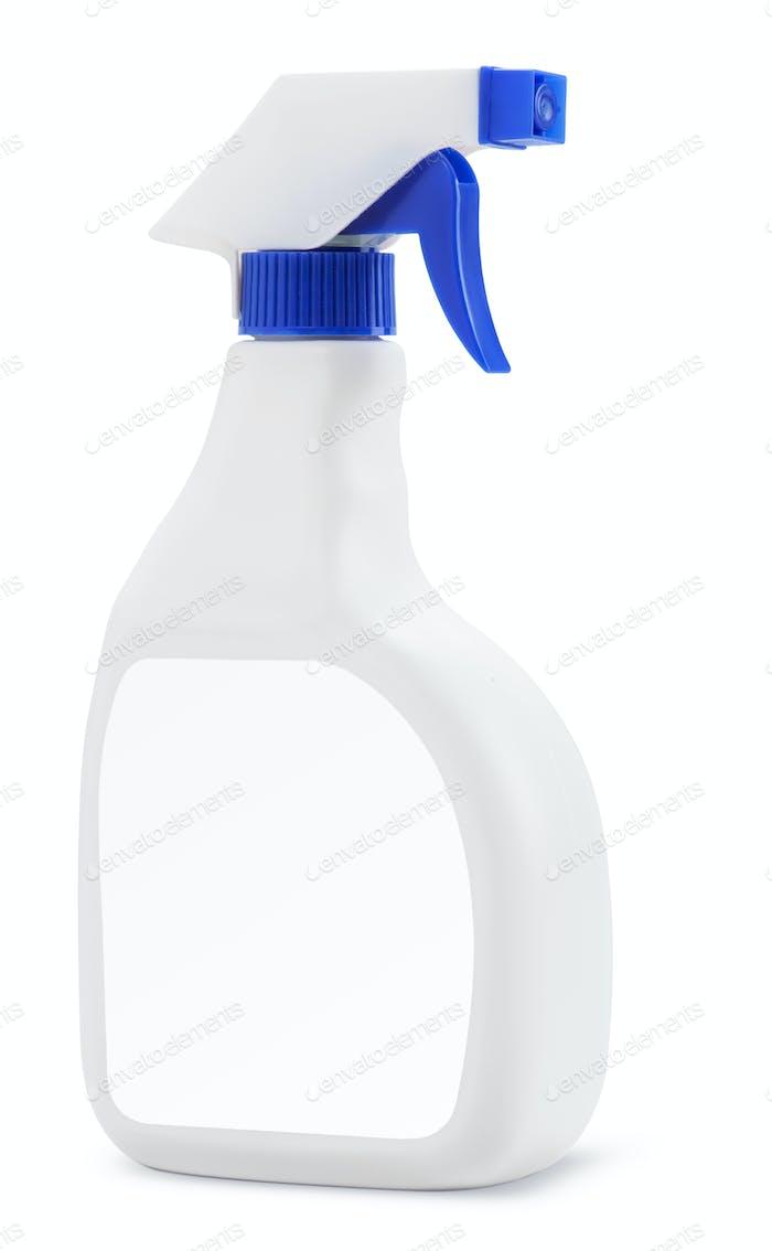 White plastic bottle with spray detergent