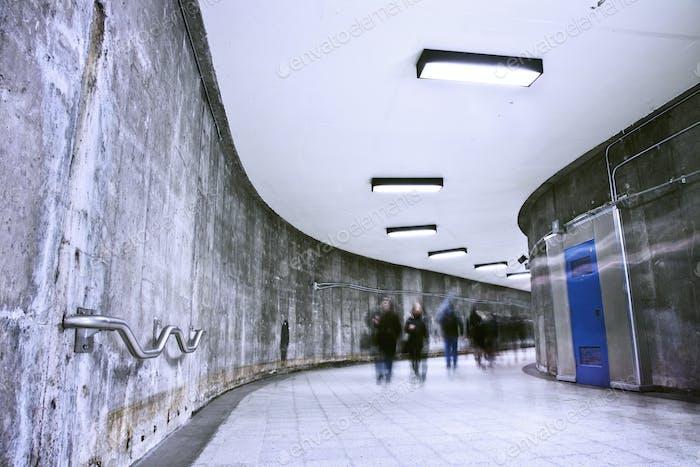 Underground Grunge metro corridor - rush hour