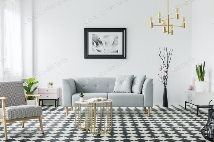 Real photo of a modern living room interior with a grey sofa, ar