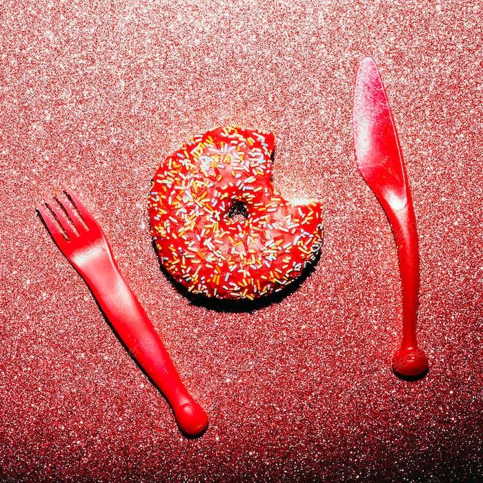 Glamorous donut. Sparkling. Fast food. Creative minimal