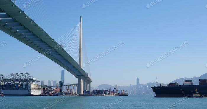 Kwai Tsing, Hong Kong 29 November 2019: Ting Kau bridge and Kwai Tsing Container Terminals