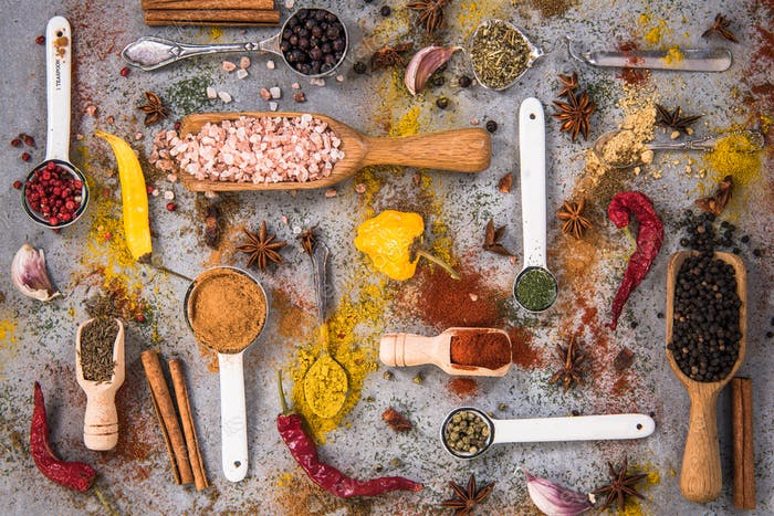 All spices on one board