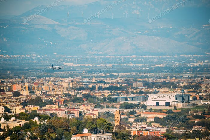 Naples, Italy. Plane Is Landing At Naples International Airport