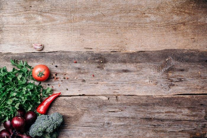 Vegetarische Kochzutaten Herbst-Erntemesse. Gesundes, sauberes Koch- und Esskonzept