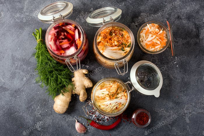 Fermented Cabbage, Fermented Vegetables in Jars, Kimchi, Fermentation Concept