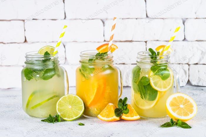 Lemonade, mojito and orange lemonade