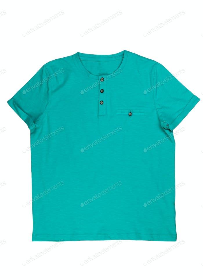 Blue T-shirt.