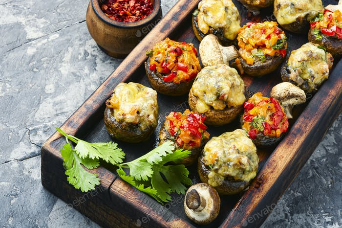 Mushrooms stuffed with vegetables