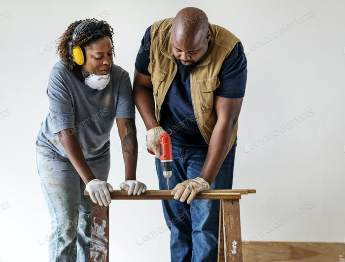 People renovating the house concept