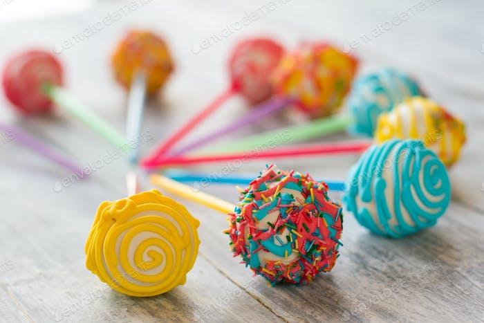 Bright-colored cake pops