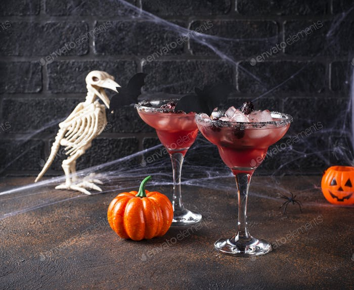 Halloweens spooky drink with blackberry