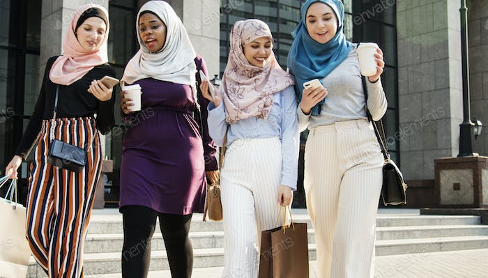Thumbnail for Islamic women friends shopping together on the weekend