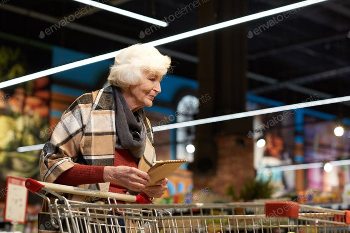 Elegant Senior Lady in Grocery Store