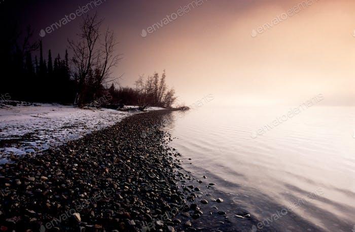 Winterlandschaft Szene Tagish See Seeufer Yukon