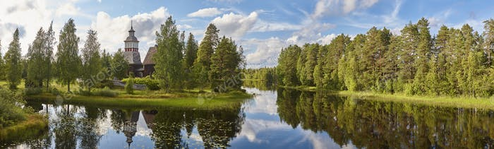 Finland landscape with forest and lake. Petajavesi church. Finnish heritage