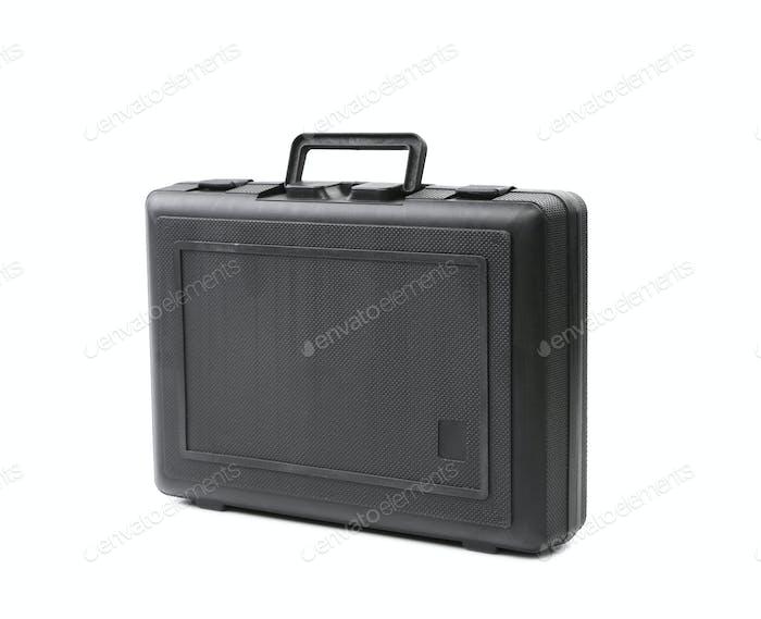 Black plastic case. Isolated on white background.