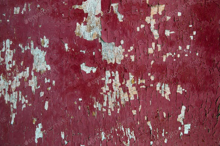 grunge background closeup, copy space. red painted wooden background. Wooden texture.