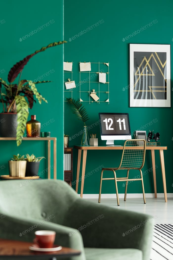 Desk in stylish living room