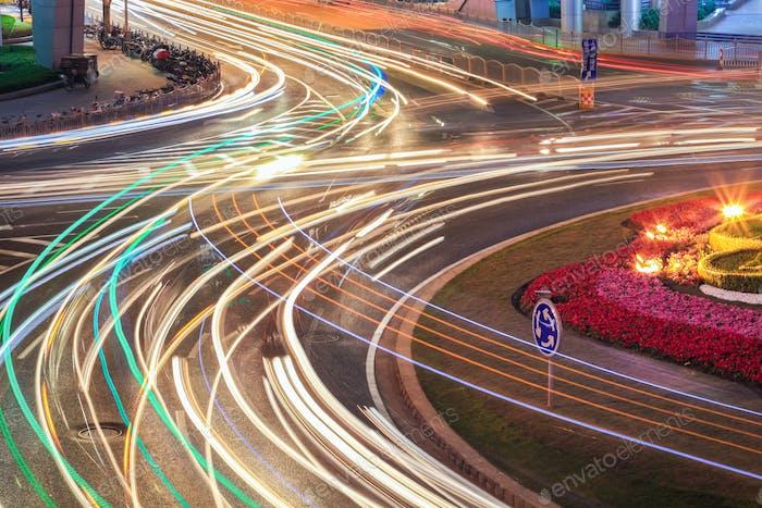 car light trails on road