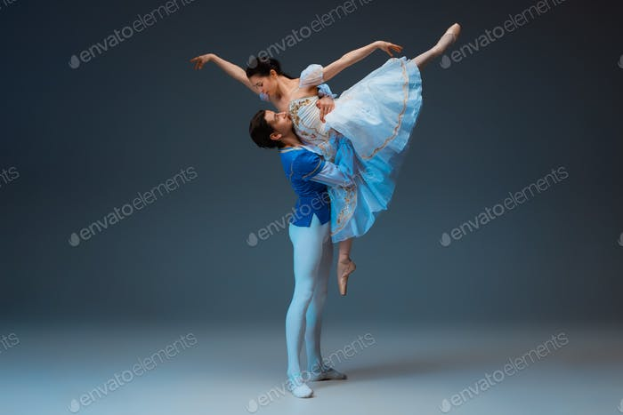 Young and graceful ballet dancers as Cinderella fairytail characters