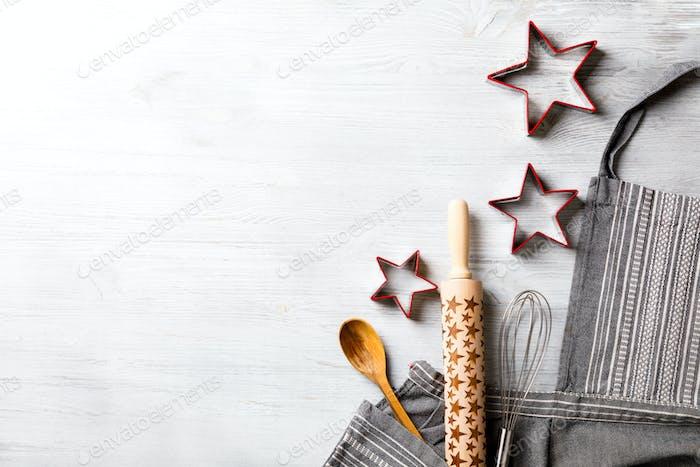 Küchenschürze auf Weihnachten Hintergrund Konzept