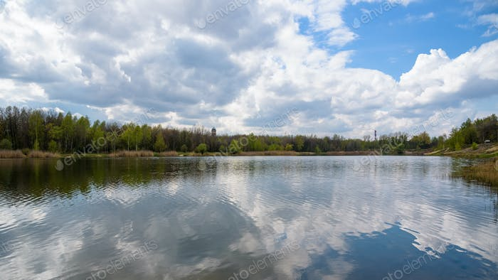 Borki lake on the border between Sosnowiec and Katowice cities