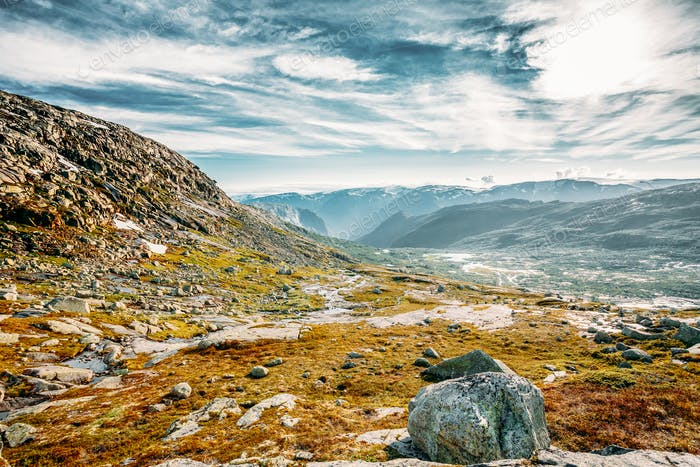 Landscape Of Norwegian Mountains. Nature Of Norway. Travel And H