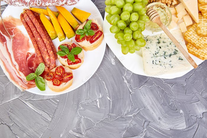 Italian antipasti wine snacks set. Mediterranean. Falt lay. Copy space.