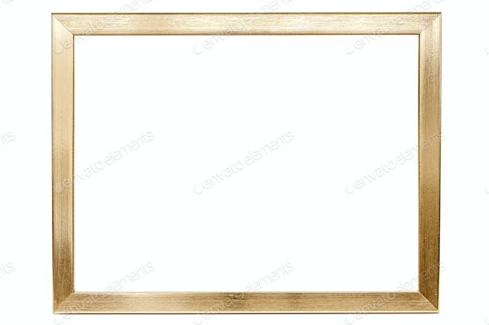 Goldener Aluminium-Bilderrahmen auf weißem Hintergrund