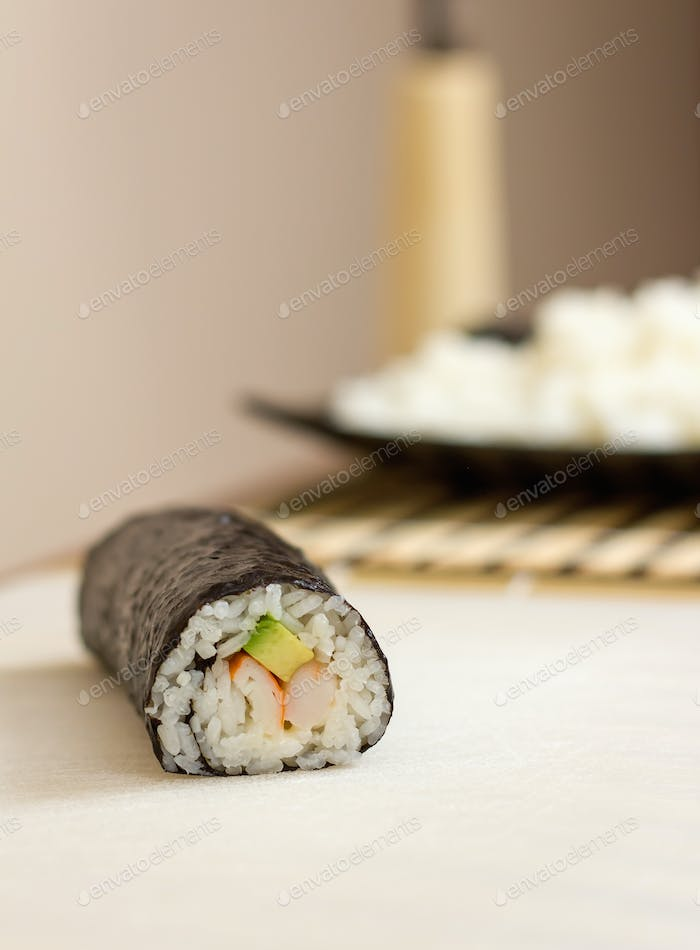Closeup of japanese sushi roll with rice