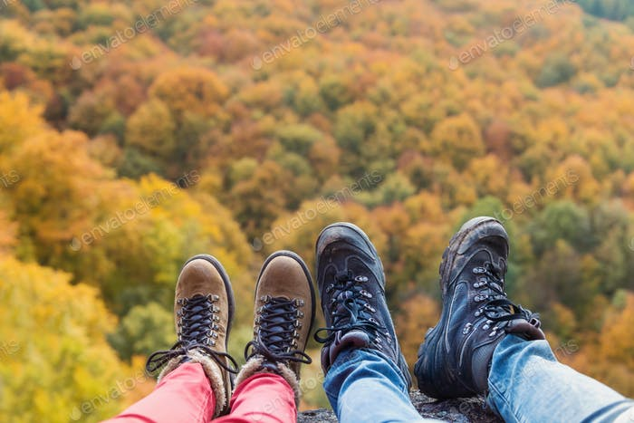 Thumbnail for Unrecognizable couple in autumn nature