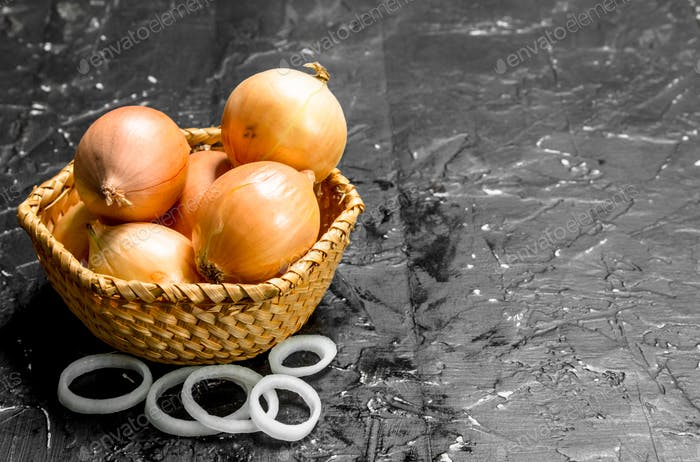 Onions in basket and onion rings.