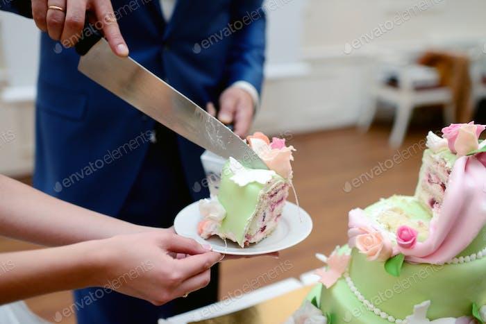 Schönheit Braut und gut aussehende Bräutigam schneiden eine Hochzeitstorte