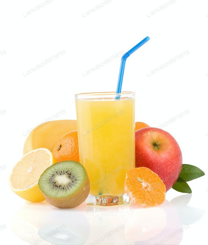 fresh tropical fruits and juice on white