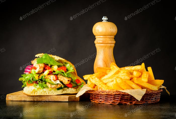 French Fries and Doner Kebap Sandwich