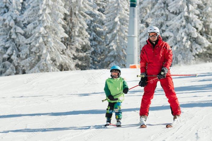 Ski instructor learning skiing