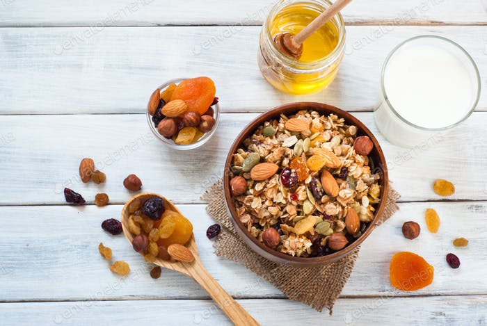 Granola in a wooden bowl