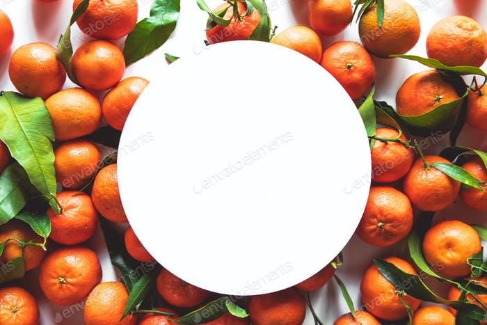 tangerines with place for text on a white background