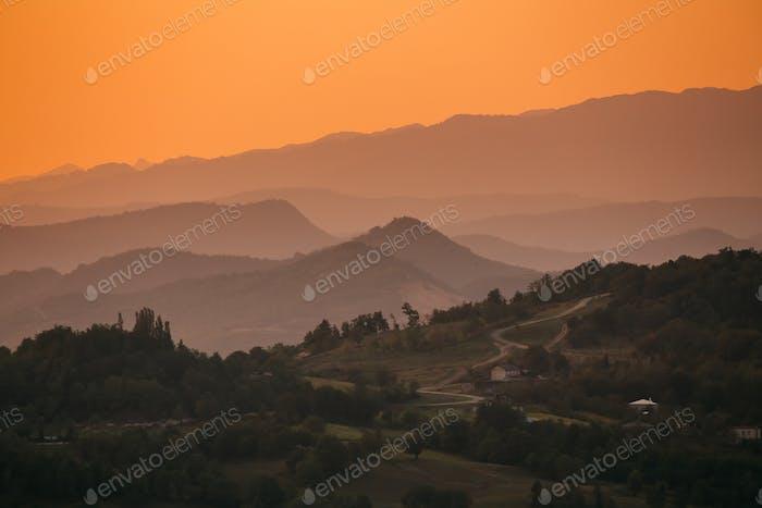 Kutaisi, Georgia. View Of Valley From Gelati Monastery In Sunset