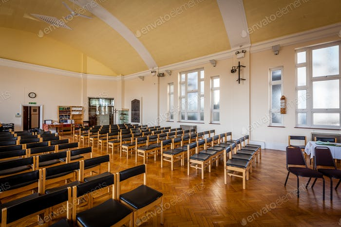 Empty chairs in the church