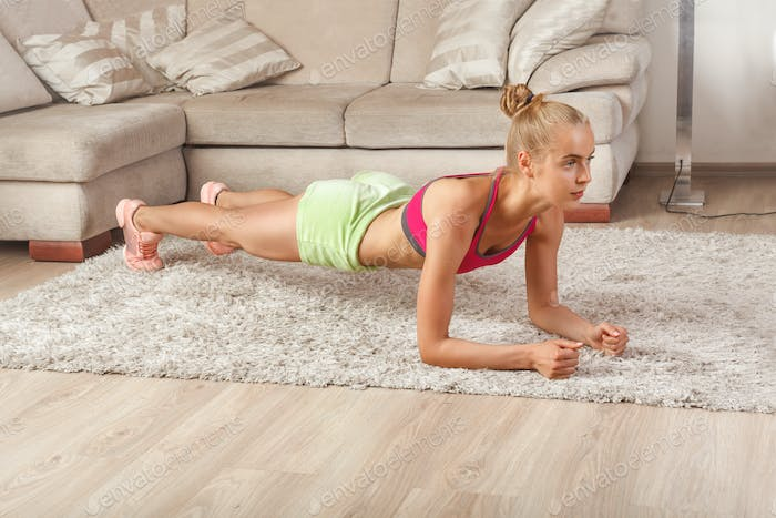 young female at home workout