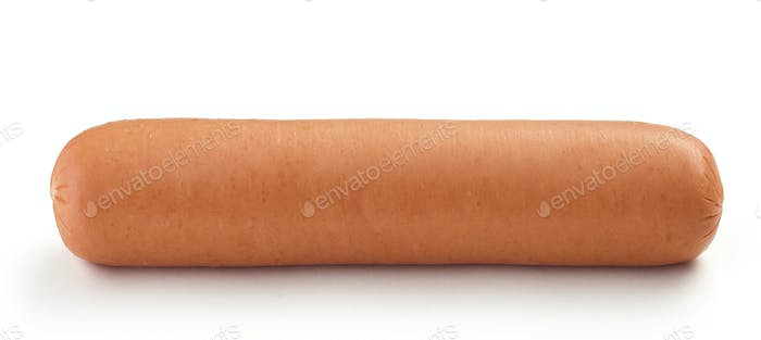 fresh boiled sausage on white background