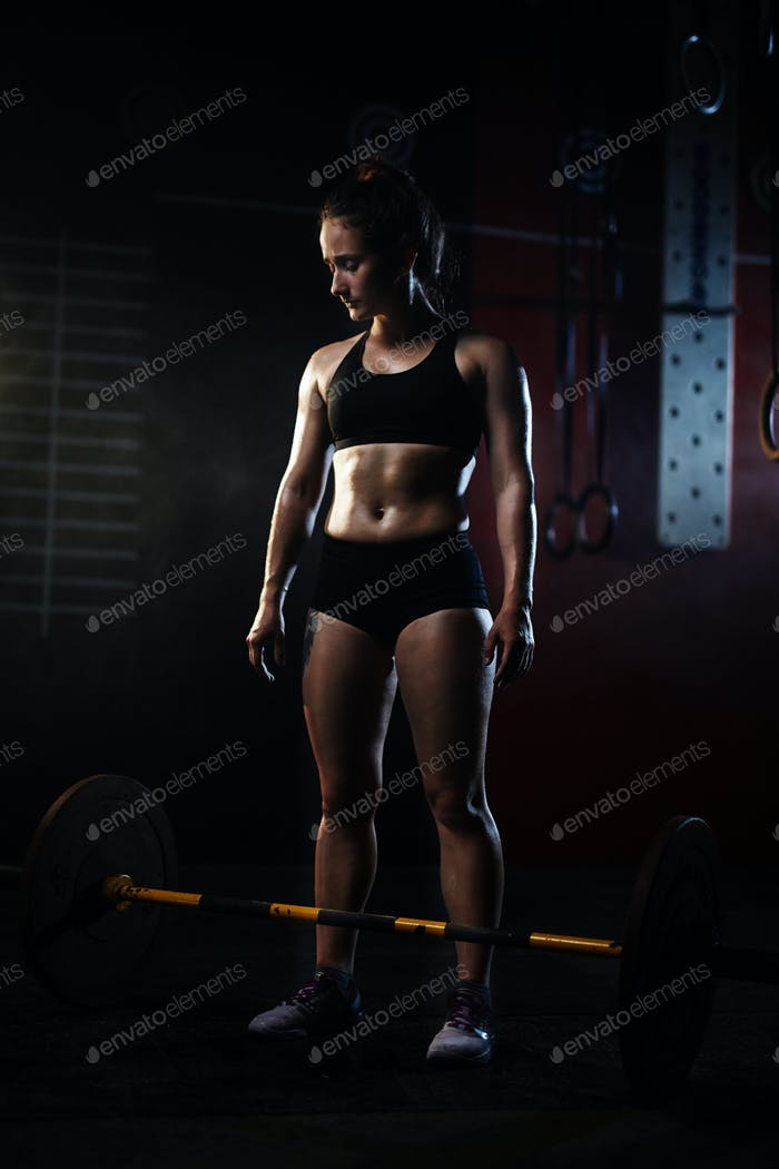 Athlete and barbell