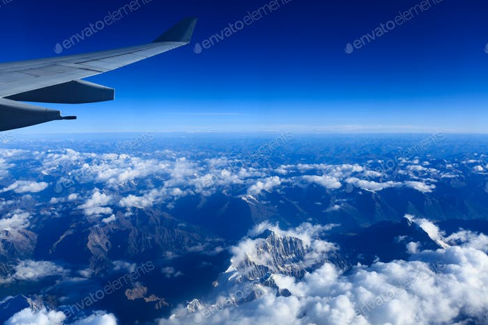 the himalayas and plane wing
