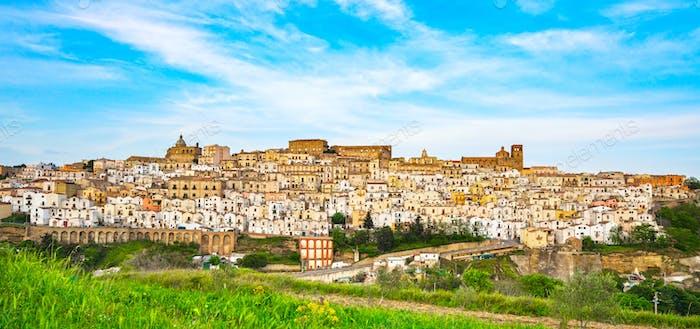 Ferrandina white old town panorama. Matera Basilicata, Italy.